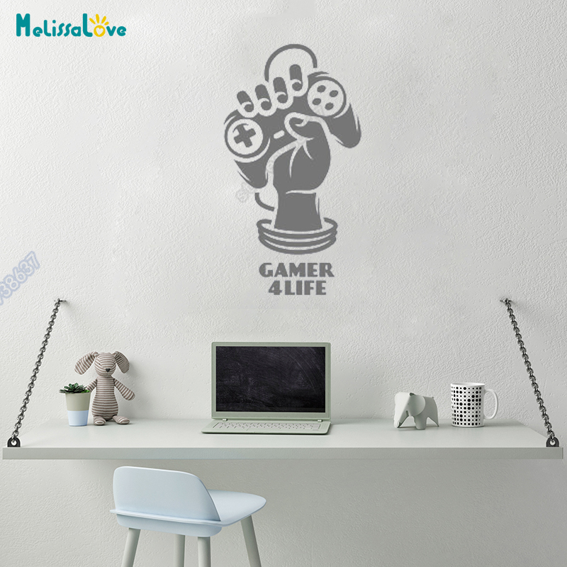 New Arrival Gamer 4 Life Play Station Xbox Wii Hand Game Machine Boy Room Wall Decal Removable Vinyl Wall Stickers B570