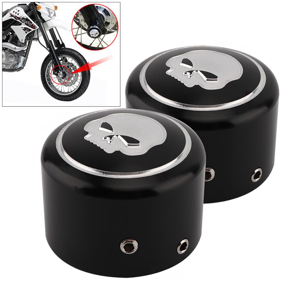 1 Pair Black CNC Aluminum Motorcycle Front Axle Nut Cover with Skull Pattern and Screws for Harley Sportster XL883 XL1200 X48 pair motorcycle accessories cnc aluminum left