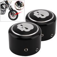 1 Pair Black CNC Aluminum Motorcycle Front Axle Nut Cover With Skull Pattern And Screws For