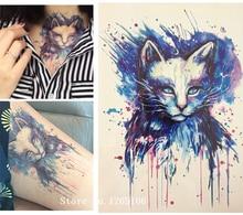 Beautiful Blue Cat Decals Body Art Decal Waterproof Paper 21x15cm#30