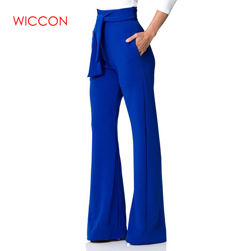 WICCON Spring Summer Fashion Casual   Pant   Women   Wide     Leg     Pants   trousers High Waist Solid Vintage Female Zipper Fly Trousers 2018