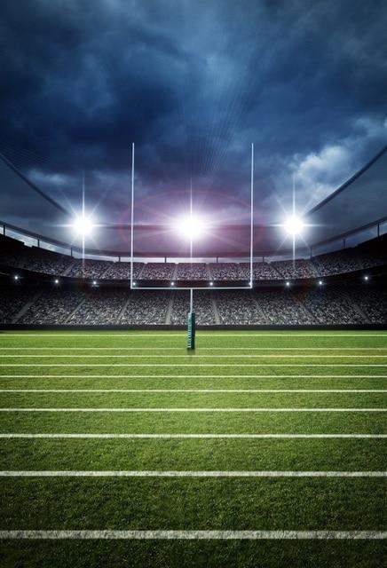 Laeacco Bright American Football Stadium Cloudy Sky