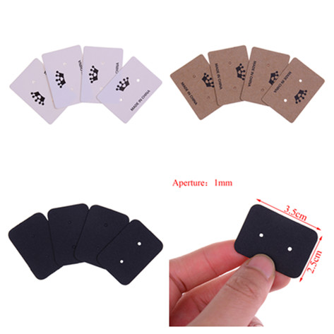 100Pcs Multi Color Paper Stud Earring Hangtag Card Custom Logo Cost Extra Jewelry Display Packing Card 3.5*2.5cm image