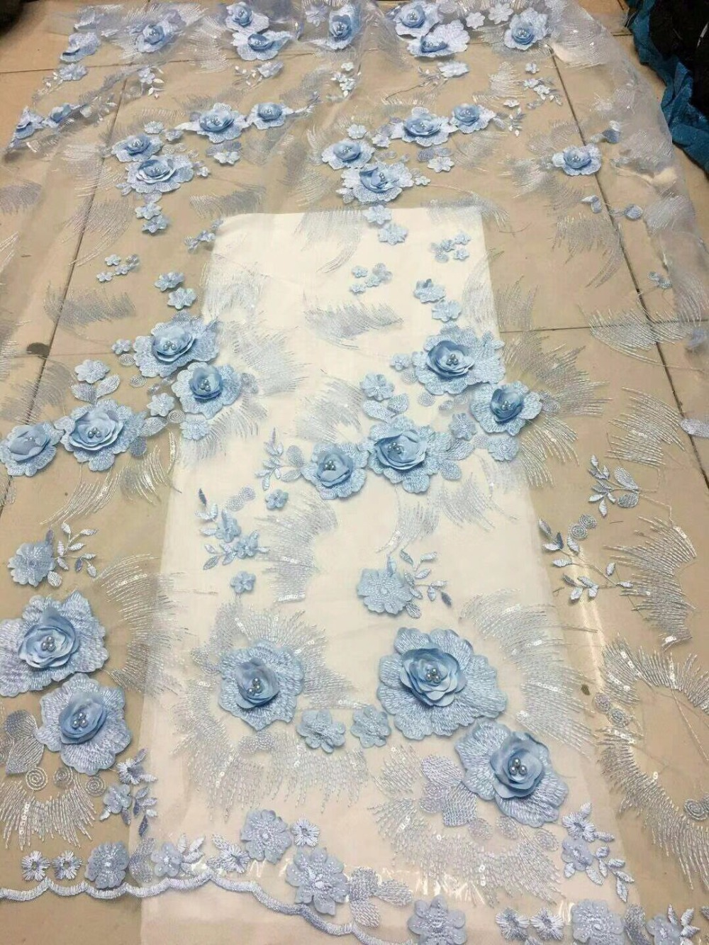 Light Blue French Lace High Quality European And American
