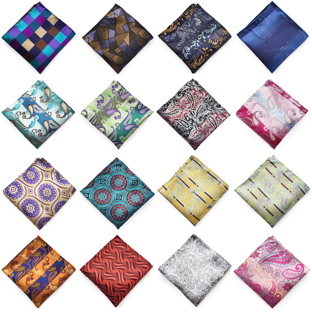 Men Multi-Color Print Handkerchief Wedding Party Gentlemen Paisley Pocket Square HZTIE0318