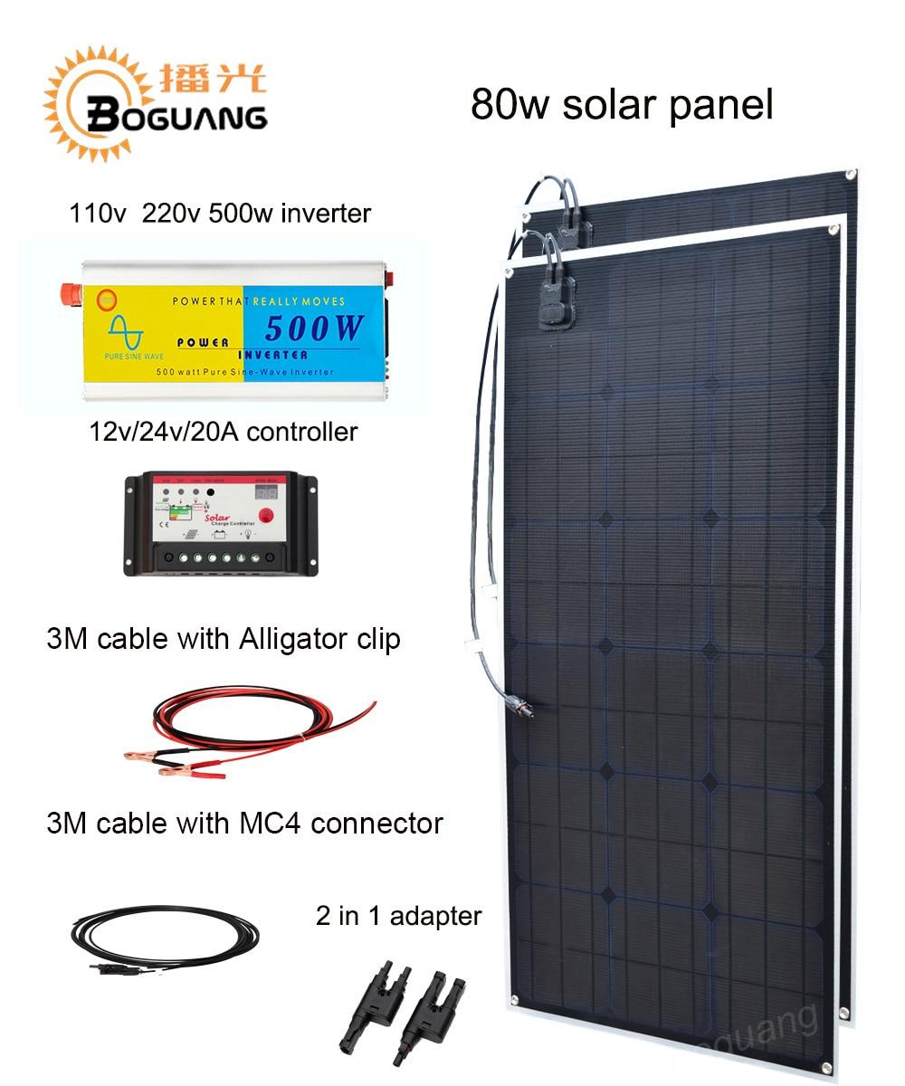 Boguang 160w solar DIY kit system 80w solar panel Solar cell 110v 220v 500w inverter 20A controller MC4 connector 12v battery h 001 solar battery cell component waterproof mc4 connector black 2 pcs