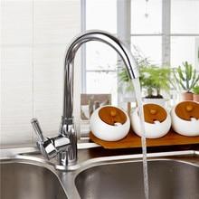 Кухонной мойки Новый кухонный кран на бортике полированный хром смеситель горячей и холодной воды Поворотный Смеситель кухонный коснитесь