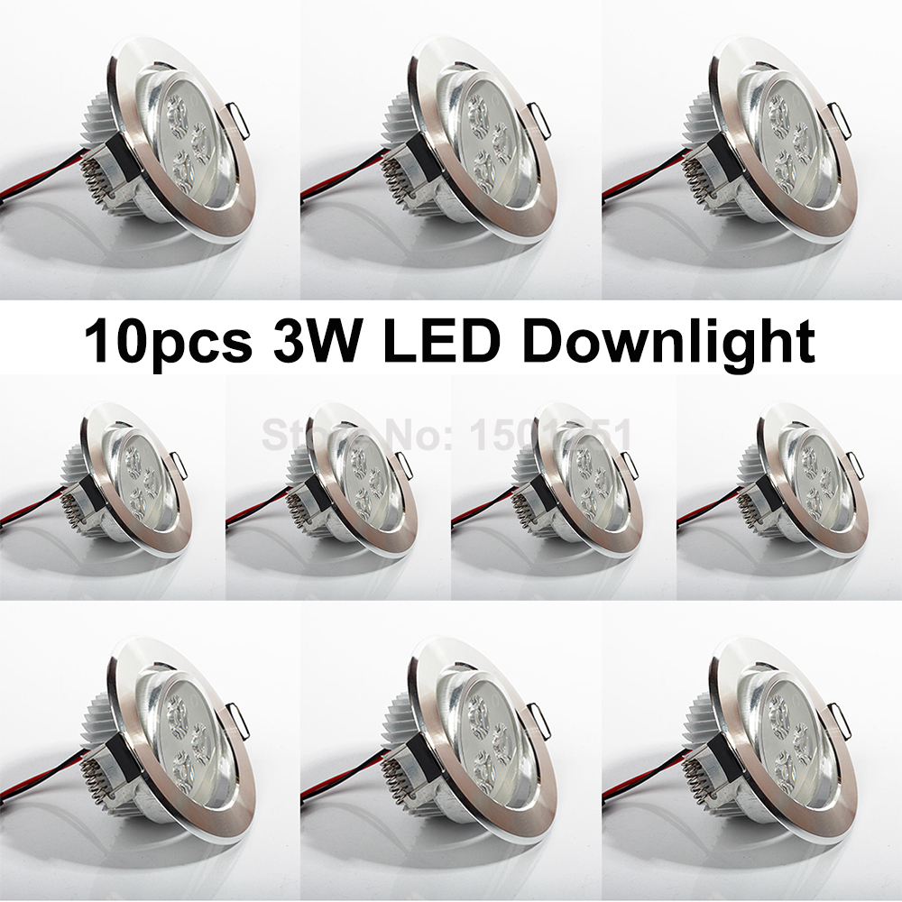 10st / lot 3W LED Downlights Spotlight Inbyggda taklampor Dimbara Pendant Lights Led Lampa Belysning Kall / Varm Vit 110V 220V