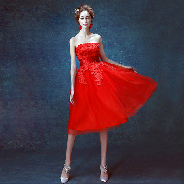 d26af2b39b5 zkc uncle 18-25 year old off shoulder sleeveless slim lace flower dress  ball gown red Evening Dresses.2416