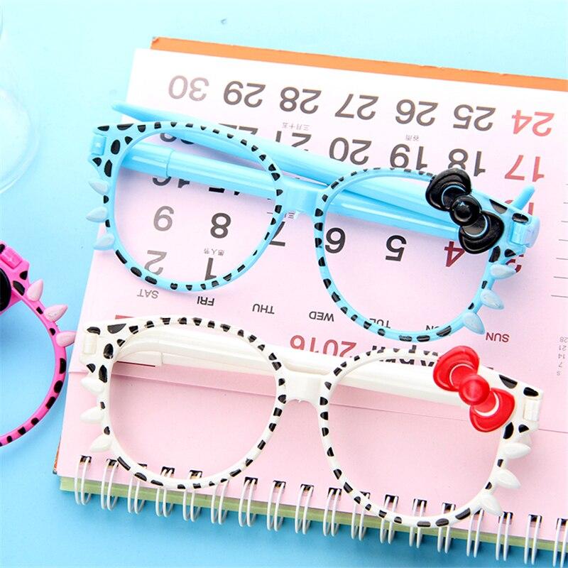 74de35b5c8 4 Pcs   Lot Promotional Pen Fashion Frame Cute Kittens Bowknot Creative Cartoon  Ballpoint Pen Glasses For School Stationery-in Ballpoint Pens from Office  ...