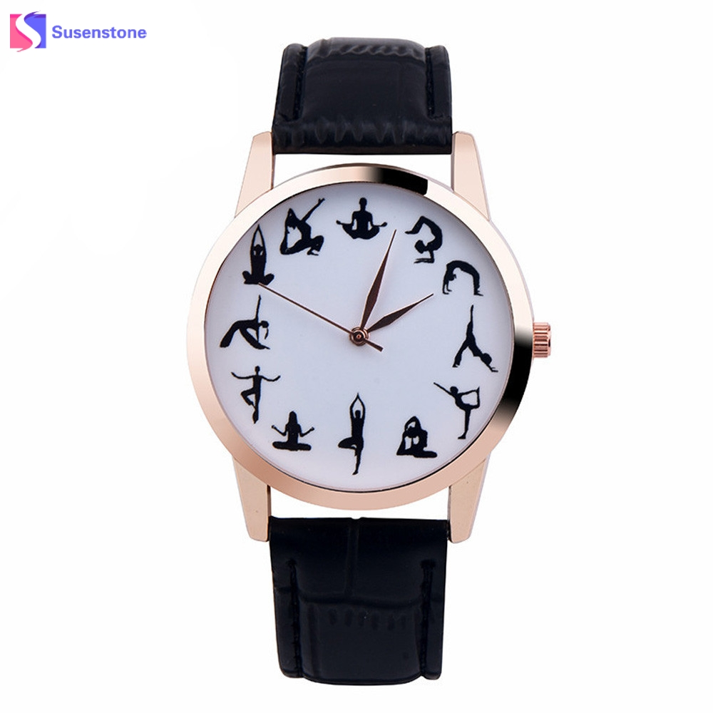 Cheap Women Watch YOGA LADY Pattern Leather Band Analog Quartz Vogue Wrist Watch Female Clock Sport Fashion Watches reloj mujer stylish bracelet band women s quartz analog wrist watch coffee golden 1 x 377