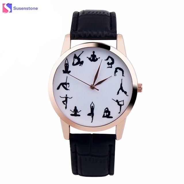 4fdba69d7bf Mulheres Relógio barato YOGA SENHORA Padrão Vogue Relógio de Pulso Feminino  Relógio de Couro Banda Quartzo