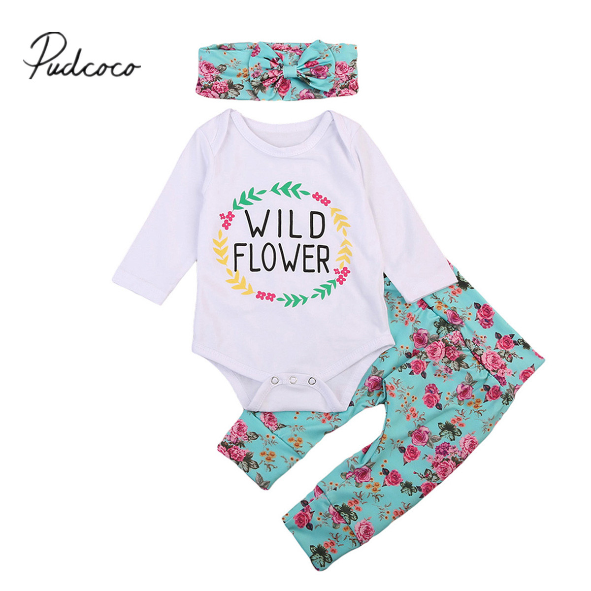 Pudcoco 3PCS Newborn Baby Girls Clothes Playsuit Flower Pants Bodysuit Outfit Set Clothes 0-24M