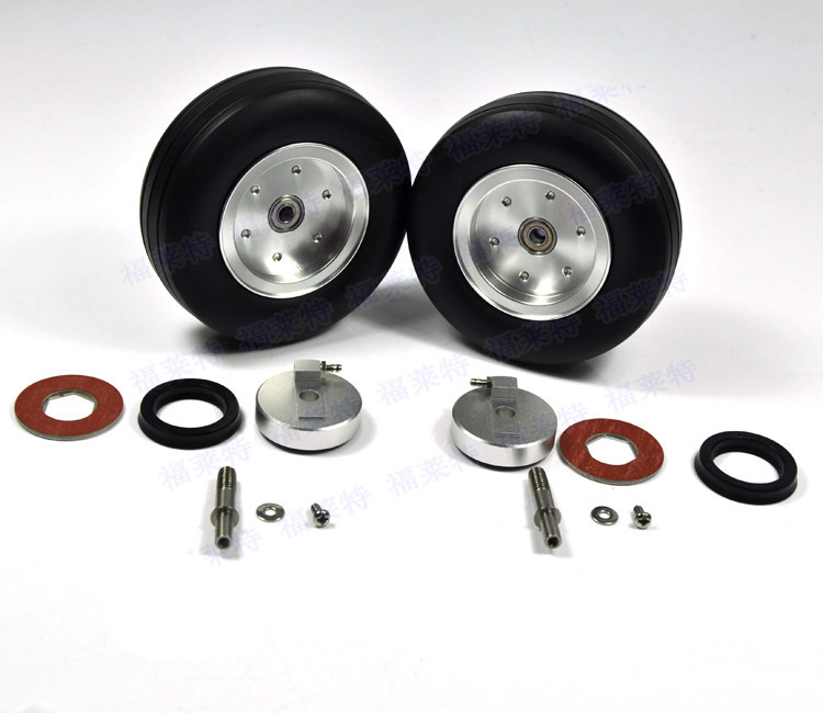 1 Set Of 3.5 Left and Right High Quality RC Rubber Wheel With Brake Axle For Airplane Viper Brake System image