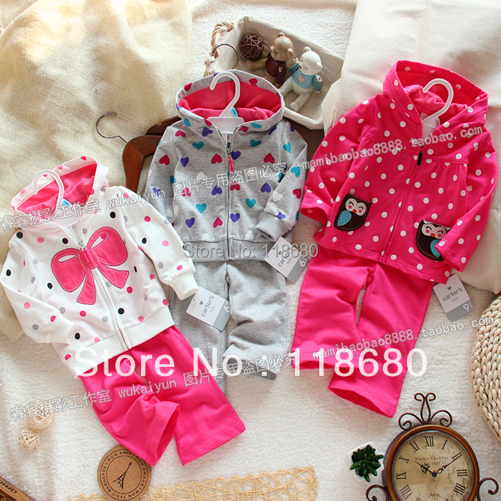 цена на new arrival 2016 spring autumn baby clothing set children outerwear + kids pants sport suit girls lovely bow casual tracksuits