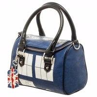 Doctor Who Bag TARDIS Mini Satchel and Metal Charm Keychain Shoulder Handbag Lady Bag