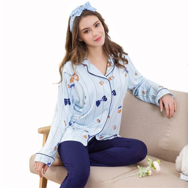 f2a320288f3e6 Pregnant Women Breastfeeding Pajama Sets Maternity Long Sleeve Nursing  Clothing Suits Pregnant Soft Sleepwear AA51375