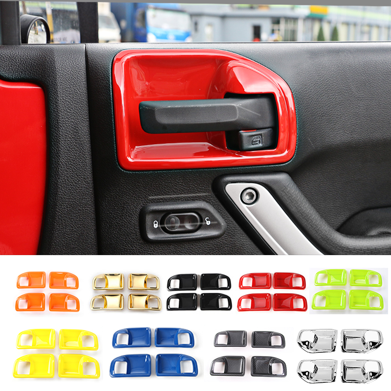 MOPAI ABS 4 Doors Car Interior Door Handle Bowl Cover Trim Stickers For Jeep Wrangler 2011 Up Car Styling nitro triple chrome plated abs mirror 4 door handle cover combo