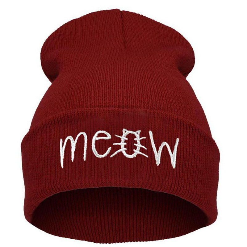 free shipping 200PCS/LOT Fashion MEOW Cap Men Casual Hip-Hop Hats Knitted Wool Skullies Beanie Hat Warm Winter Hat for Women wool skullies cap hat 10pcs lot 2289