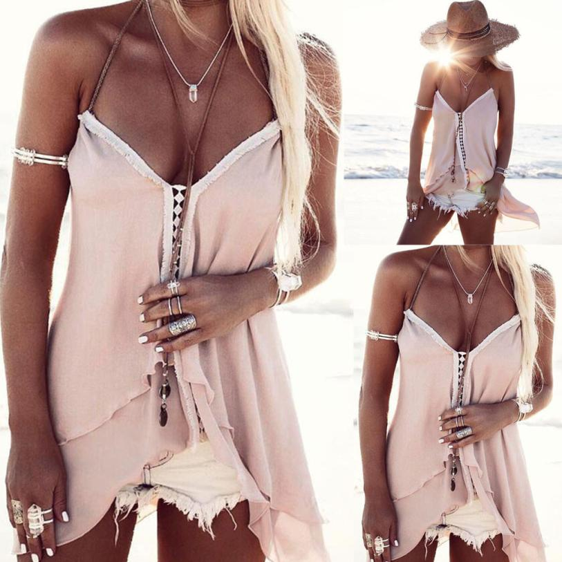 T-shirt summer casual Beach V-Neck Sleeveless t-shirt Wome Summer Irregular Sleeveless Casual summer T-Shirt 18JUNE26