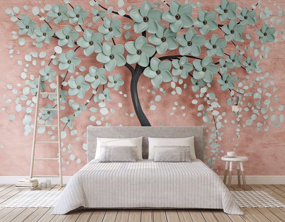 Bacaz Custom 3D Photo Wallpaper Flower Tree Romantic Wall Mural Wallpapers For Living Room Bedroom De Parede 3d wallpapers wallpapers youman custom 3d photo wallpaper mural living room tulip retro brick wall european 3d painting non woven wallpapers