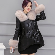 New winter women's down jacket fur leather overcoats maternity winter clothing pregnancy jacket warm clothing highe quality