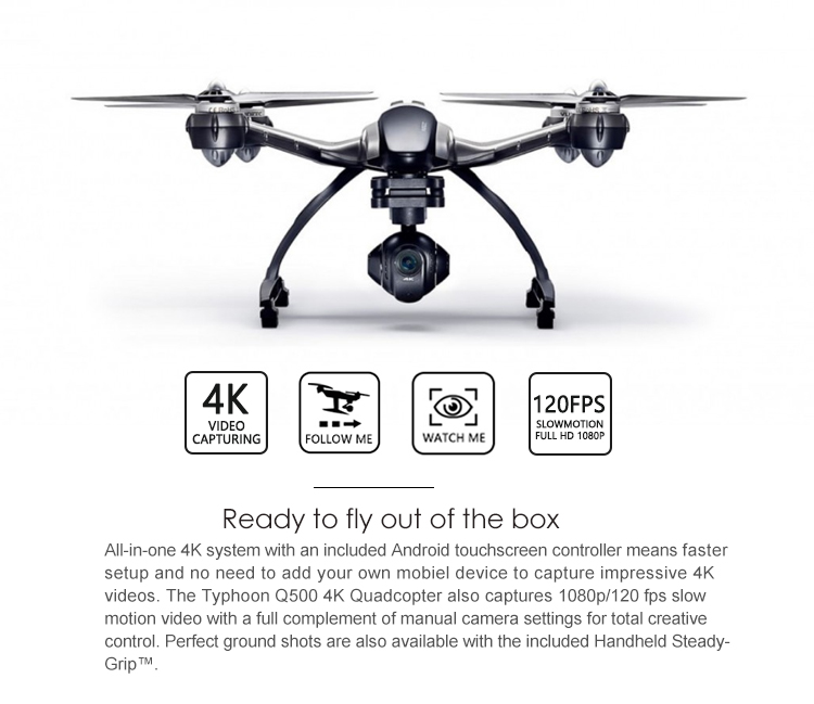 Original Yuneec Typhoon Q500 FPV RC Quadcopter Drone With 4K Camera And  CGO3 3 Axis Gimbal