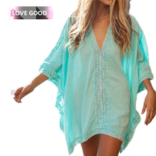 2016 Women Casual Lace Dress Hollow Out Loose V-Neck Beach Dress Cotton Half Sleeve Summer Beach Cover Up