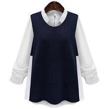 Fashion Women's Cotton Blends Patchwork Full Sleeve O Neck Casual Shirt Plus Size XL-5XL