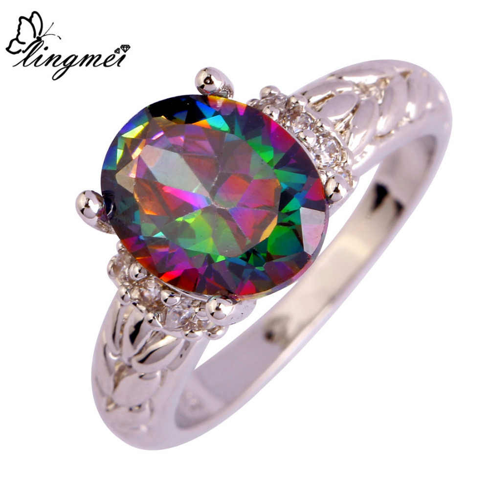 lingmei Big Promotion Popular Multicolor & White CZ Silver 925 Ring Jewelry For Women Size 6 7 8 9 10 11 12 Wholesale Cocktail