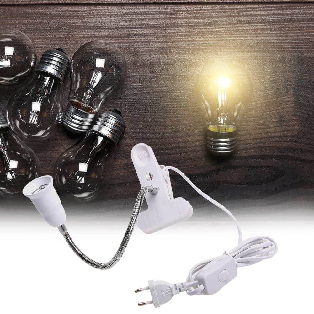360 Degrees Flexible Lamp Holder Clip E27 Base With On off Switch Feet Plugs Night Light