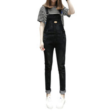 Spring Autumn Fashion Casual Cute Rompers Womens Jumpsuit Straight Denim Overalls High Waist Jean for Women black Y119
