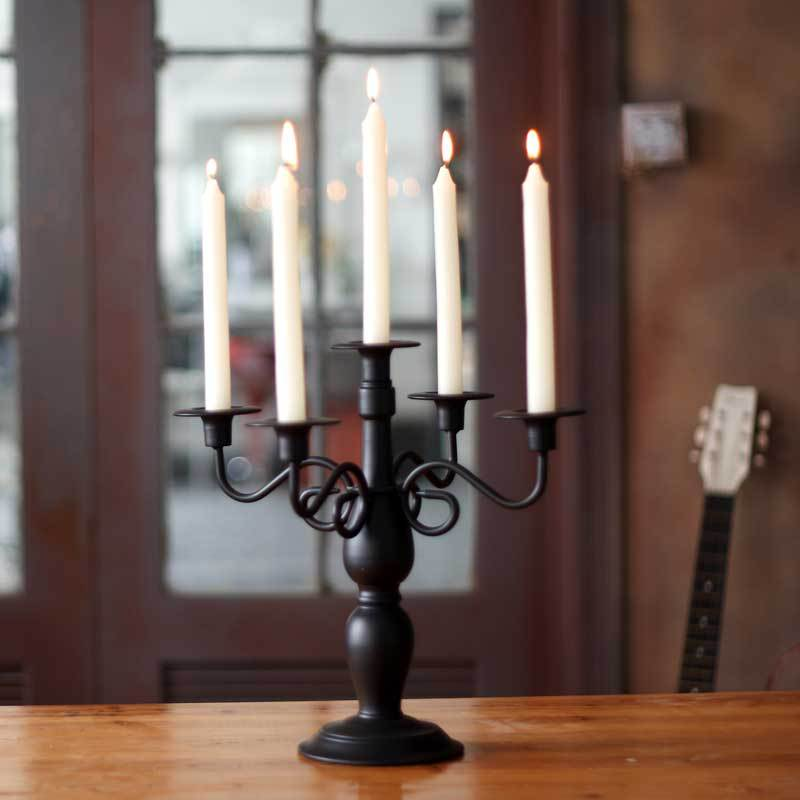 European Classical Palace Black White Five Iron Art Candlestick Romantic Wedding Candlestick Accessories Metal Candle Holder - 4