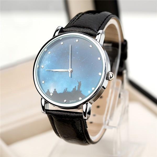 Star and Sky Pattern Rhinestone Casual Quartz Watch
