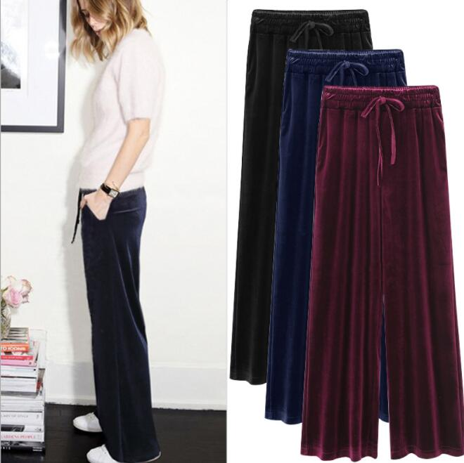 6XL Womens Winter Velvet Drawstring   Pants   Ladies Fashion Solid Elastic Waist Loose Trousers Female Casual   Wide     leg     pants