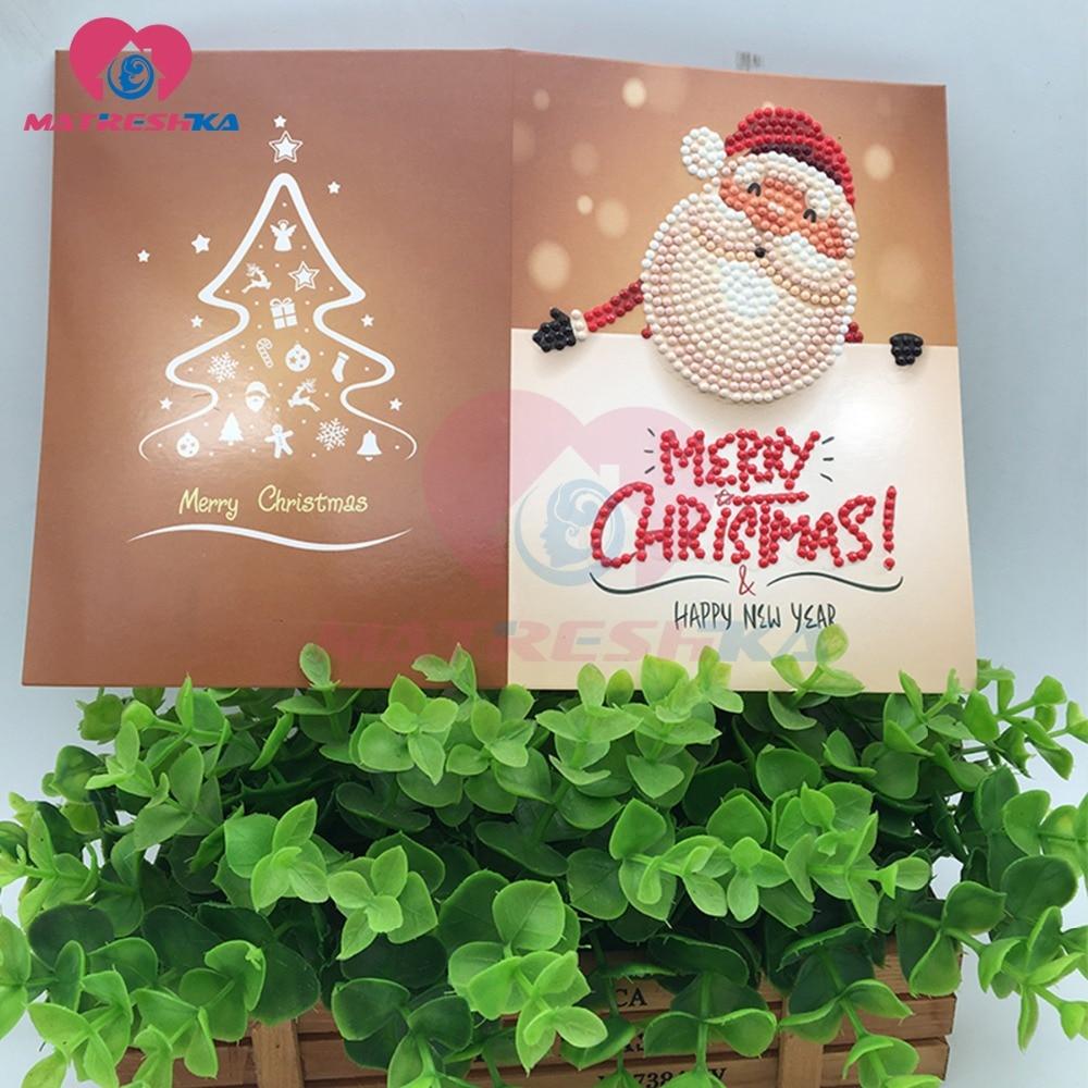 Christmas Greeting Cards Diamond Painting Full Round Diamond Mosaic
