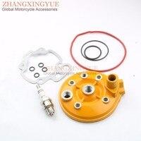 70CC Motor cylinder head & velas de ignição E6TC & juntas para Yamaha 47mm AM6 RS50 XP6 XR6 XPS 50 amarelo