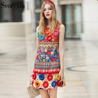 2017 Runway Designer New Spring Autumn Tank Dress Women S High Quality 3D Floral Diamonds Print