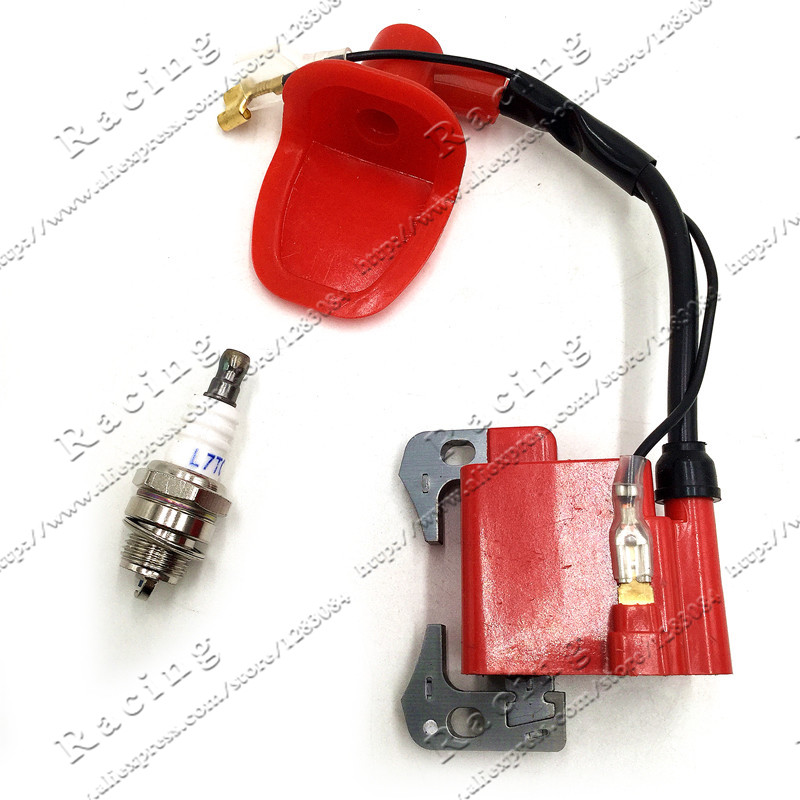 Performance Red <font><b>IGNITION</b></font> <font><b>COIL</b></font> <font><b>for</b></font> 43cc 47cc 49cc <font><b>Mini</b></font> <font><b>Quad</b></font> <font><b>Pocket</b></font> <font><b>Dirt</b></font> <font><b>Bike</b></font> ATV 2-Stroke Engine part with L7T spark plug