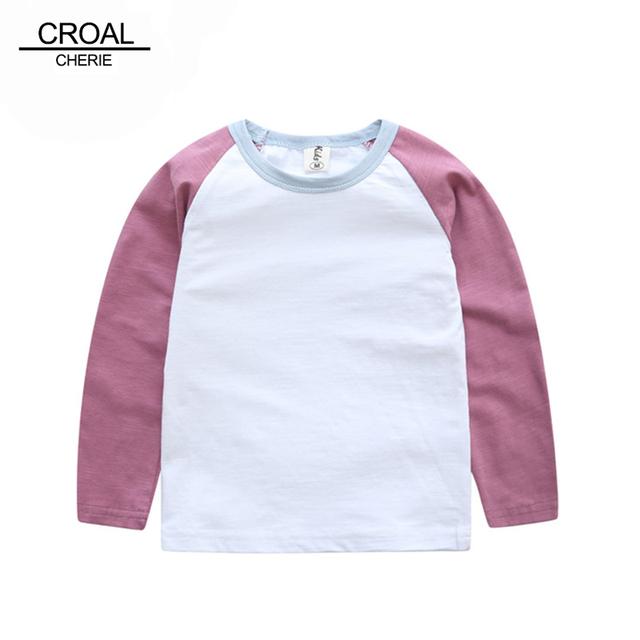 70-120 cm Crianças Menino T-shirt O-pescoço Manga Longa Patchwork Roupas Para Meninas Do Bebê Recém-nascido Menino Top Legal Crianças das Camisas Roupas