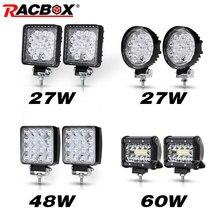 Barra de luz LED todoterreno, foco reflector combinado de haz de 12V, 2 uds., 4 pulgadas, para Jeep, ATV, UAZ, SUV, 4WD, camión, Tractor, luz de trabajo