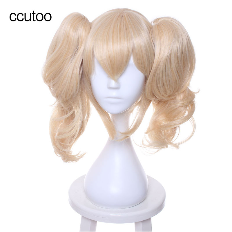 ccutoo Lelouch of the Rebellion Anya Alstreim Golden Blonde Mix Curly Synthetic Hair Cosplay Costume Wigs With Chip Ponytails