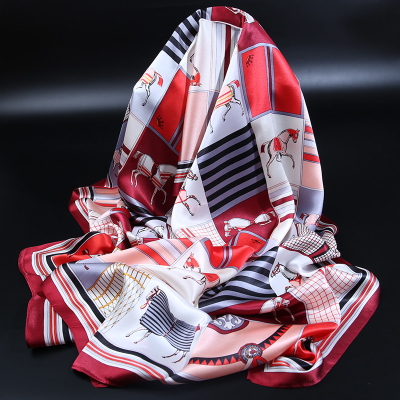 Horse Prints 100% Silk Long Scarf Shawl for Women Ladies Autumn  Fashion Scarves Wraps 170x53cm