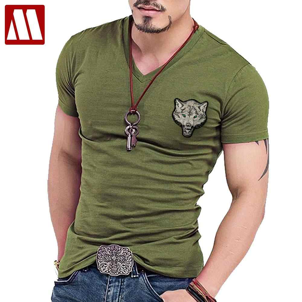 db61d0404da New Casual Men s Wolf T-shirts 2019 V Neck Short Sleeve Cotton embroidery  Animal T