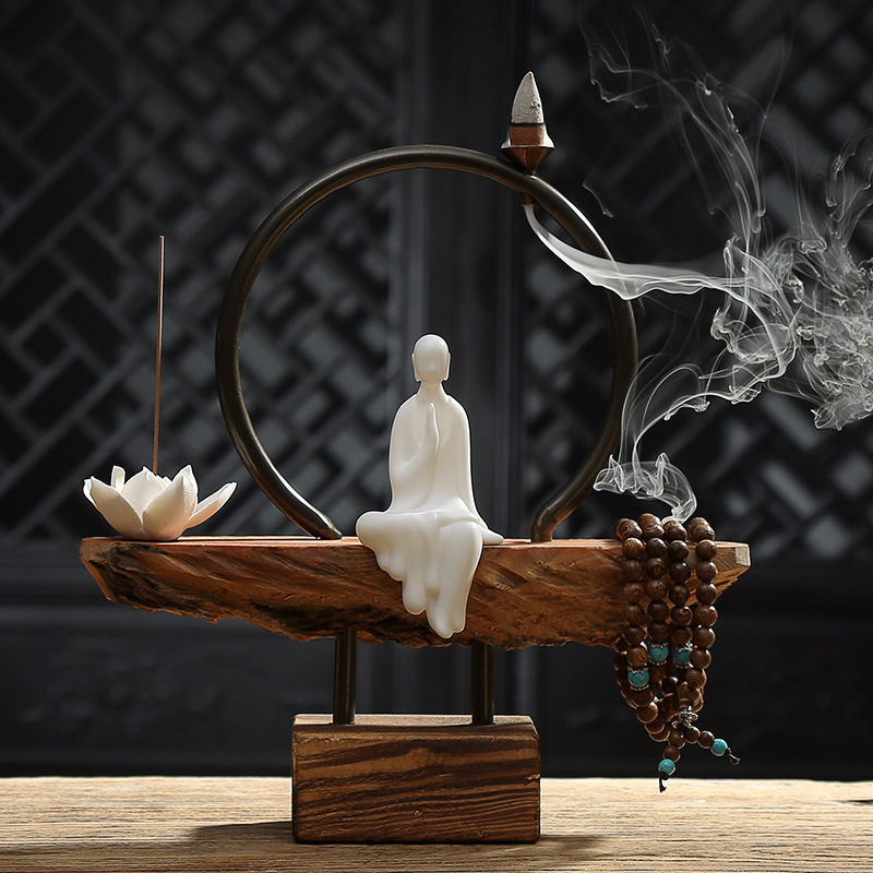 Creative Brève Blanc En Céramique Moine Lotus Bâton et le Reflux Brûleur D'encens En Bois Base Accueil Art Décoratif Ornements Ami Cadeau
