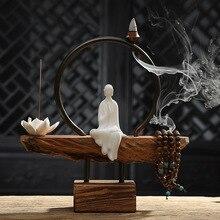 Творческий краткое белый керамика монах Лотос Stick и обратного потока благовония горелки деревянный база дома книги по искусст