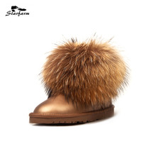 STARFARM Real Fox Fur Ankle Boots Genuine Leather Women Shoes Woman Winter Snow Boots Warm Fashion Russian Boots Wool New Bootie