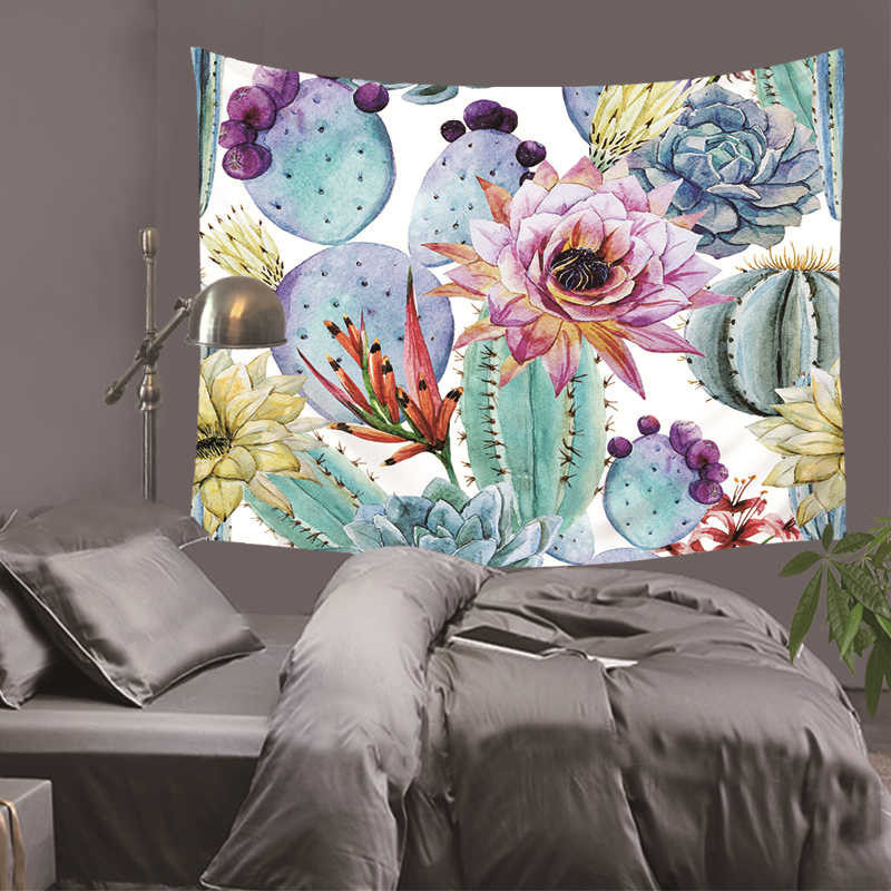 Pineapple Tapestries Tropical Fruit Wall Hanging Green Leaves Geometry Watercolor Dorm Decor Bedspreads 130Cm Woven Sublimation in Tapestry from Home Garden