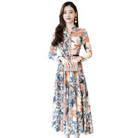 2019 New Autumn Women dress Full Sleeve Chiffon Slim In Long Dresses Khaki 2296