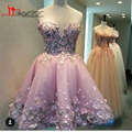 2017 Dark Pink Vestidos De Renda 3D Handmade Flowers Short Cocktail Prom Dress With Sweethearh Pleated Backless Party Gowns